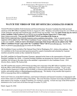 Download the flyer about the Candidates Forum Video