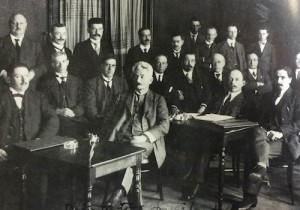 Delegates to trade union convention in Amsterdam, Holland, 1919. Tobin is seated in the 3rd row, 3rd from right. Samuel Gompers is 3rd row center