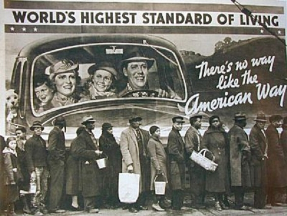 Bread Line in front of mural proclaiming that America has the world's highest standard of living