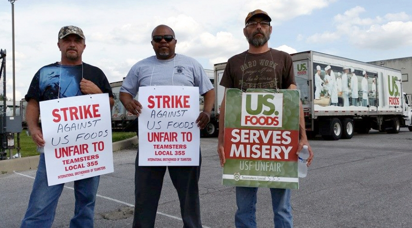 Teamsters from Local 355 protest job cuts from grocery distributor US Foods, Inc. (Teamsters 355)